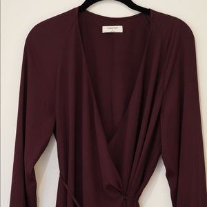 Burgundy/wine Wallace wrap dress Babaton